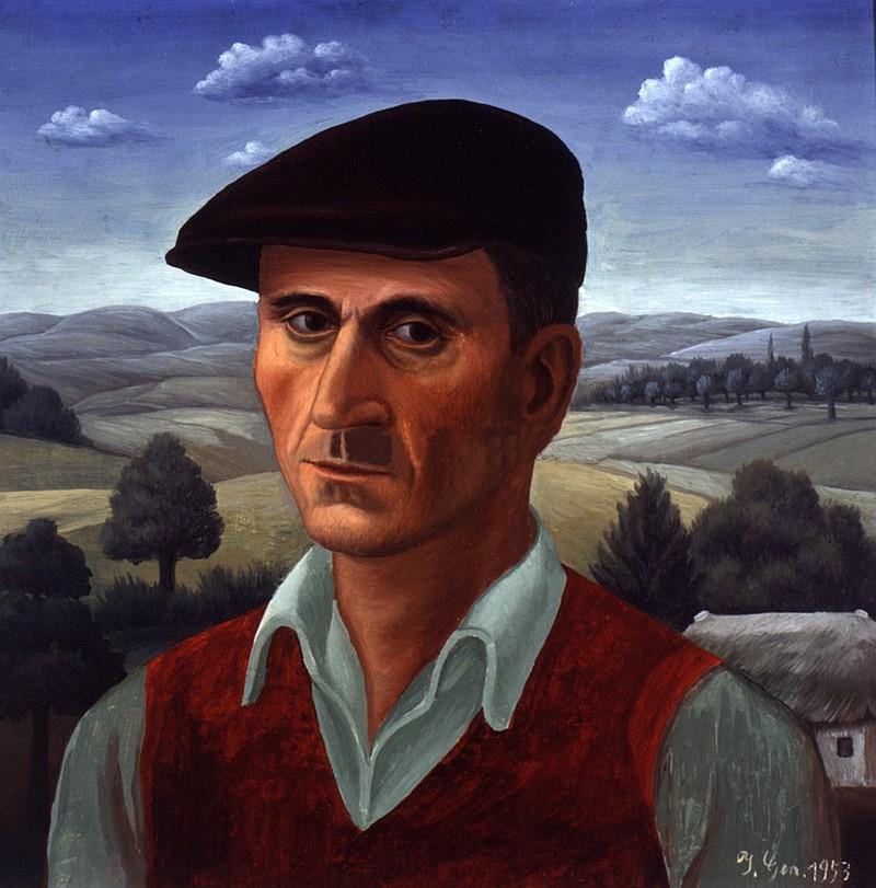 IG1953-03 Self portrait, oil on glass, Ivan Generalic