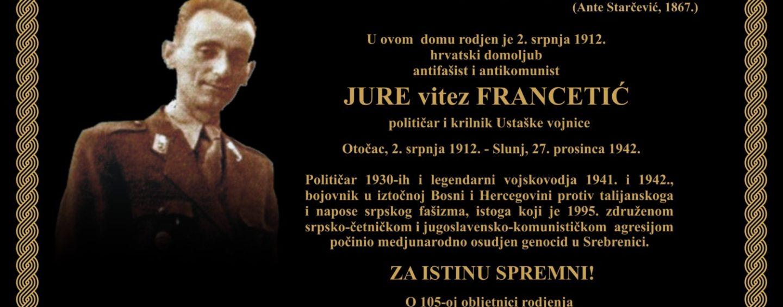 JURE FRANCETIĆ U SVOM I NAŠEM VREMENU  (VELEBITNA PREPOZNAVANJA)